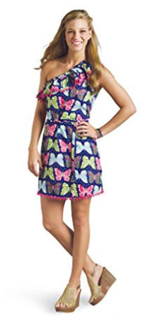 Mud Pie Women's Caroline One Shoulder Dress Butterfly Print