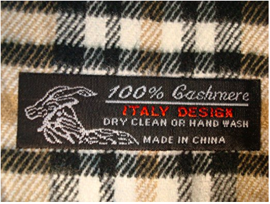 Plaid Cashmere Scarf - Label View